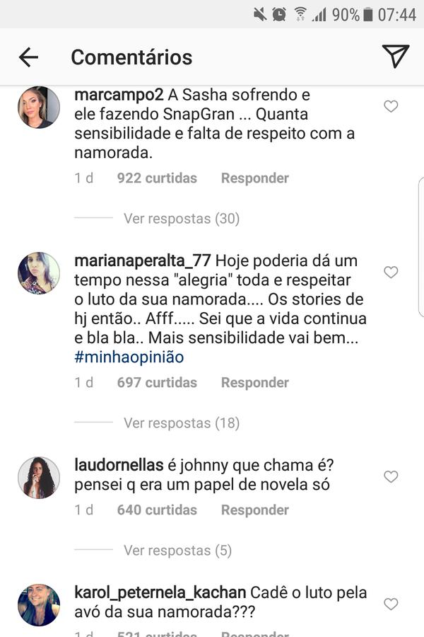 Mensagens deixadas para Bruno Montaleone (Foto: Instagram/Reprodução)