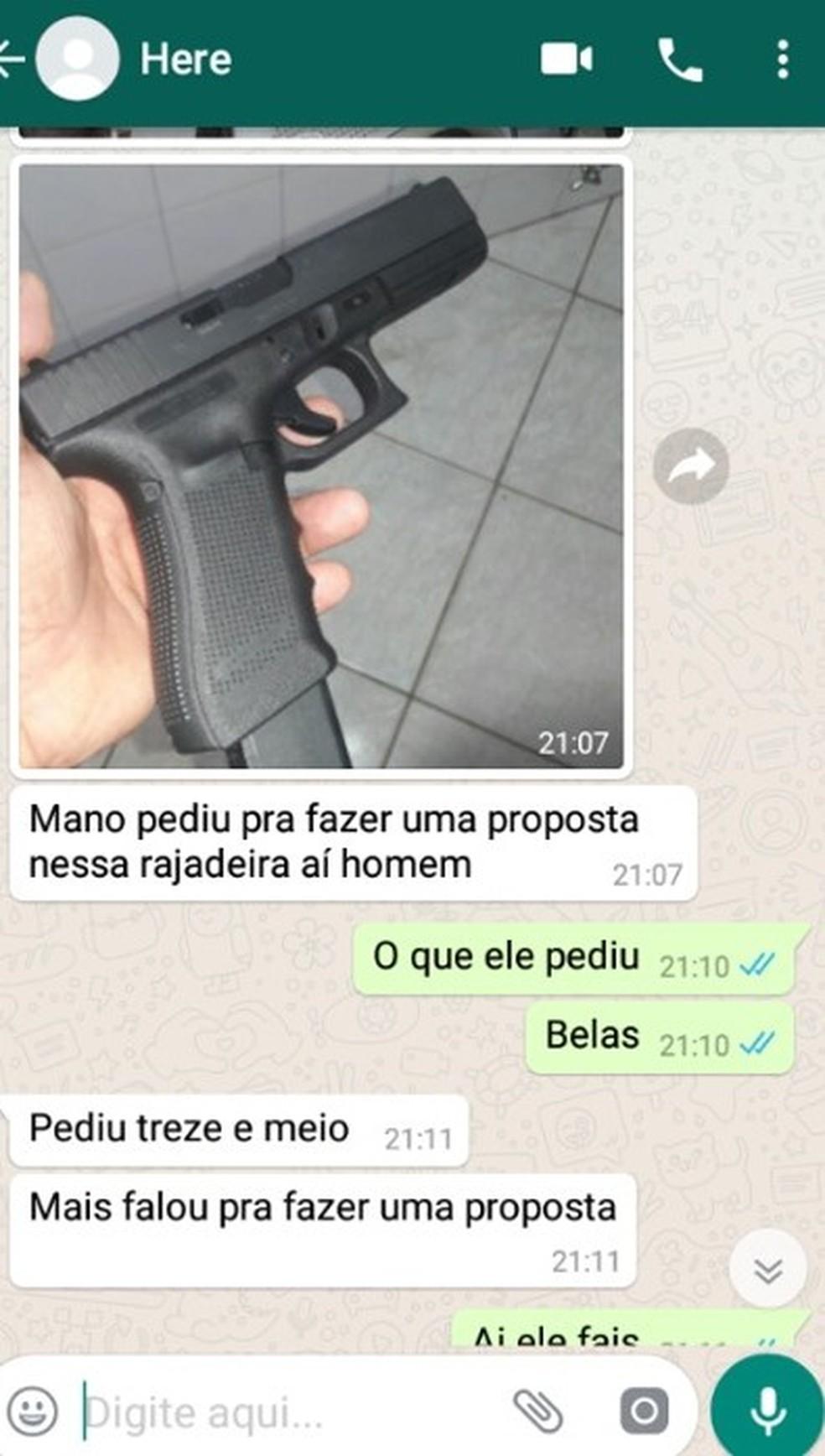 Venda de armas por criminosos investigados em Uberlândia na Operação 'La Casa de Papel' — Foto: Gaeco/Divulgação