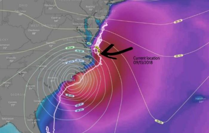 Localização da tartaruga Isla em 13 de setembro.  (Foto: Florida Leatherbacks)