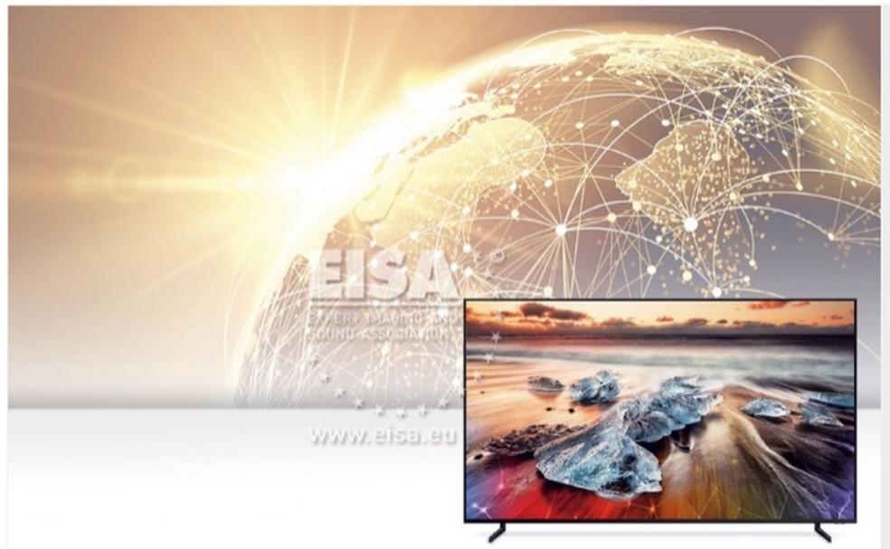 Samsung QE82Q950R foi eleita a melhor TV com tecnologia 8K do mundo de 2019 — Foto: Divulgação/EISA