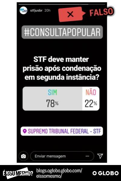 Suposta enquete publicada pelo STF no Instagram