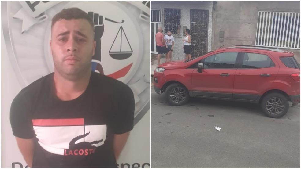 Assaltante que foi preso e o carro usado no crime, segundo a polícia — Foto: Divulgação/Polícia Militar