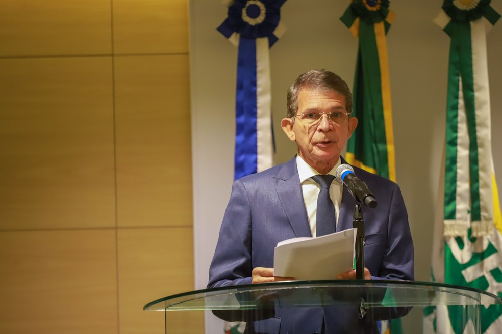Joaquim Silva e Luna discursa em sua cerimônia de posse como presidente da Petrobras — Foto: Paulo Belote/Agência Petrobras