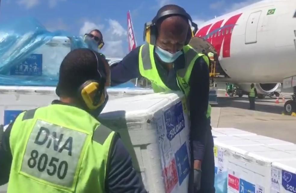 Chegada de vacinas Coronavac ao estado da Bahia — Foto: VTC Log