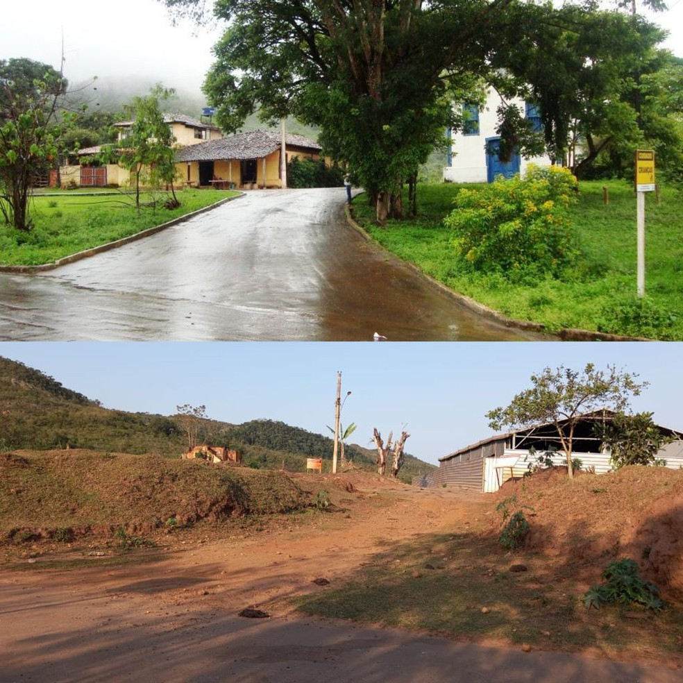 Acima, Bento Rodrigues antes da tragédia; abaixo, ruínas da igreja e de casas em 26 agosto de 2021 — Foto: Mônica dos Santos/Arquivo Pessoal