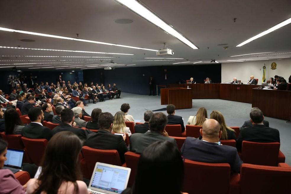 Julgamento de denúncia contra o senador Aécio Neves (PSDB-MG) na Primeira Turma do Supremo Tribunal Federal (Foto: José Cruz / Agência Brasil)