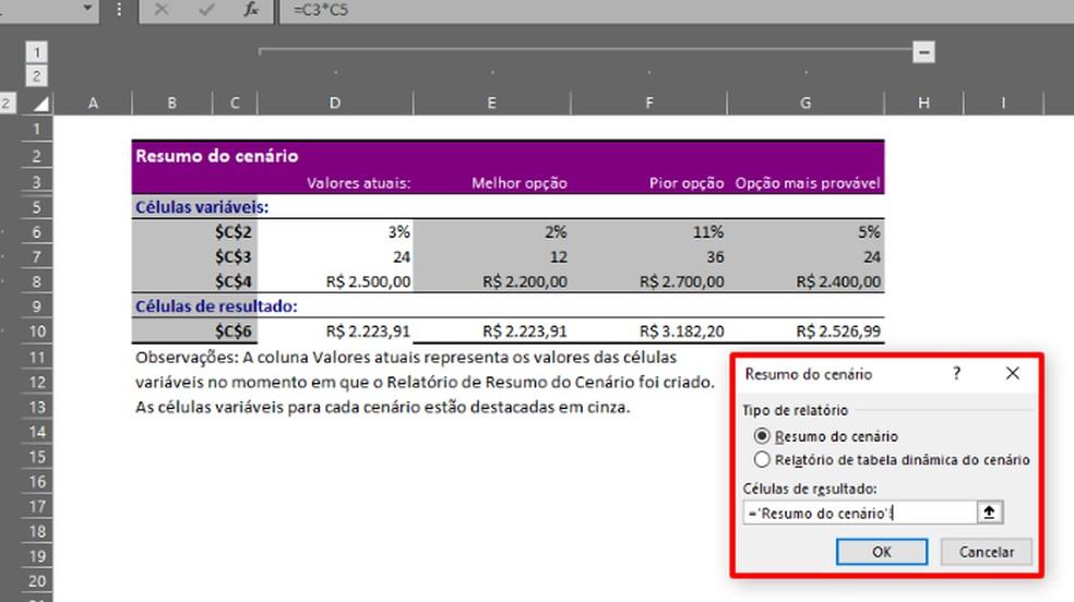 """O Excel criará o """"Resultado do Cenário"""" em uma nova planilha (Foto: Reprodução/Daniel Ribeiro)"""