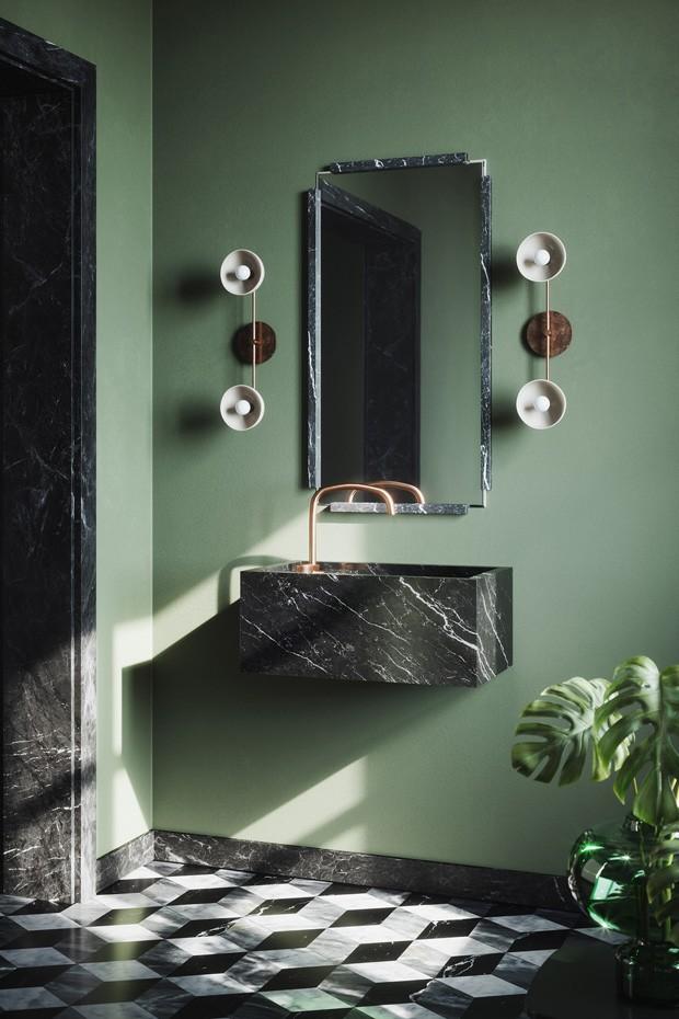 Décor do dia: banheiro verde com cuba de pedra (Foto: Divulgação)