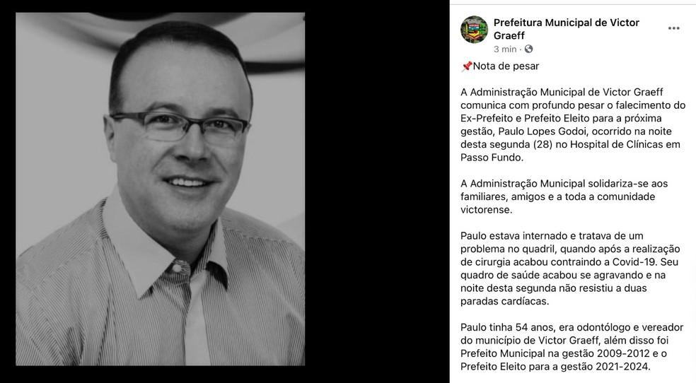 Paulo Lopes Godoi, prefeito eleito de Victor Graeff, morreu em decorrência da Covid-19 — Foto: Reprodução/Facebook