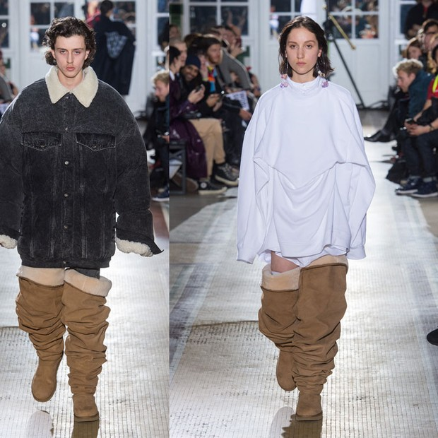 As Ugg Boots da Y/Project, apresentadas na passarela masculina de inverno 2018 da marca (Foto: IMAXTREE)