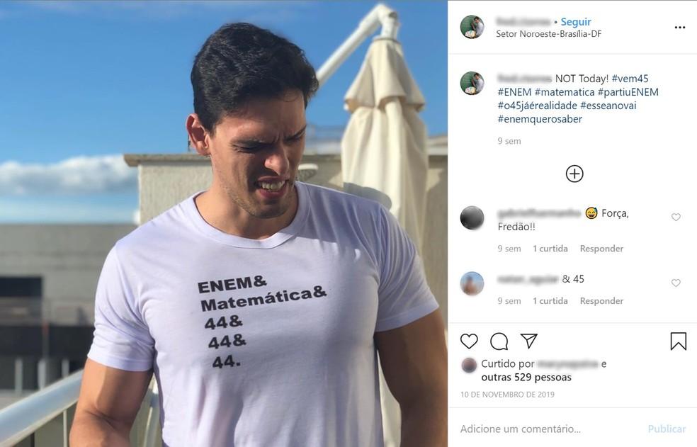 Frederico Torres virou meme entre estudantes após sempre errar uma questão no Enem — Foto: Reprodução/Instagram