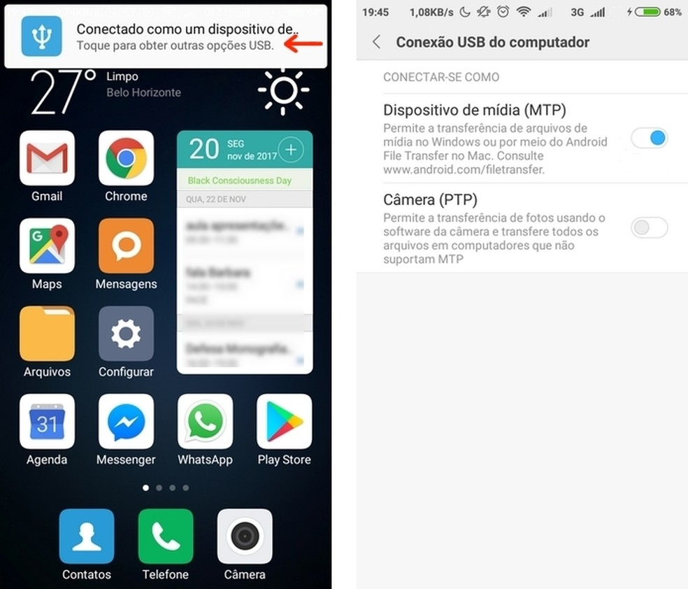 Smartphone Xiaomi habilitado para transferir arquivos para computador via USB (Foto: Reprodução/Raquel Freire)
