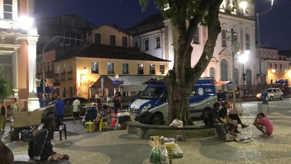 Policiamento normal na região do Pelourinho, em Salvador — Foto: João Souza/ G1
