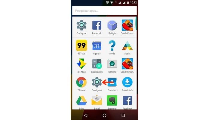 Indicação de menu Configurar na bandeja de apps do Android (Foto: Reprodução/Raquel Freire)