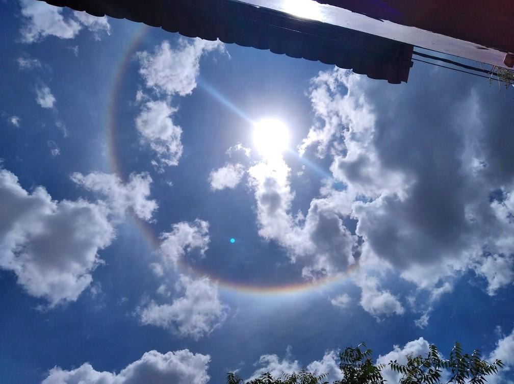 Halo solar no céu cearense chama atenção de moradores do interior do estado — Foto: Arquivo pessoal