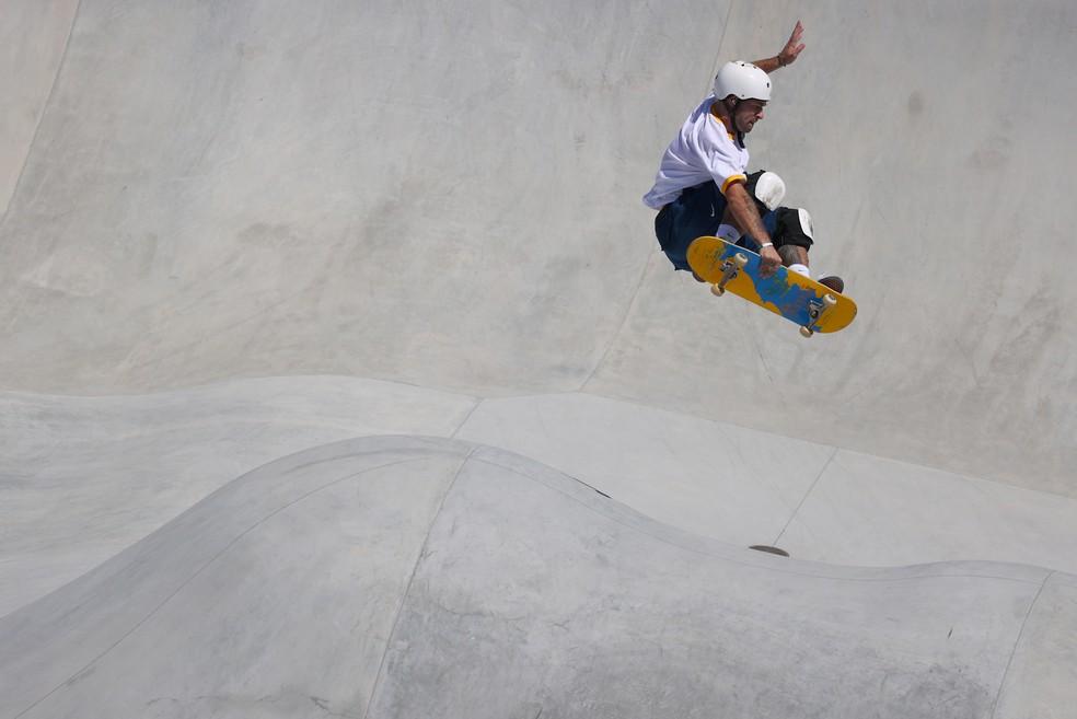 Pedro Barros na final olímpica do skate park — Foto: REUTERS/Lisi Niesner