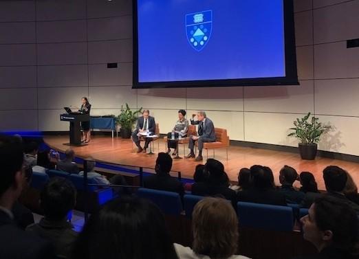 Indra Nooyi e Jeff Bewkes no auditório da SOM (Foto: Arquivo pessoal/Fernanda Lopes de Macedo Thees)