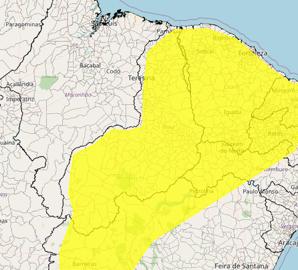 Inmet emite alerta de perigo potencial de chuvas para 208 municípios do Piauí — Foto: Inmet