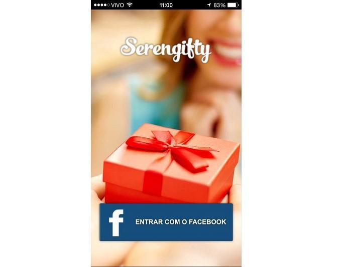 App só aceita cadastro via Facebook (Foto: Reprodução/Aline Jesus)