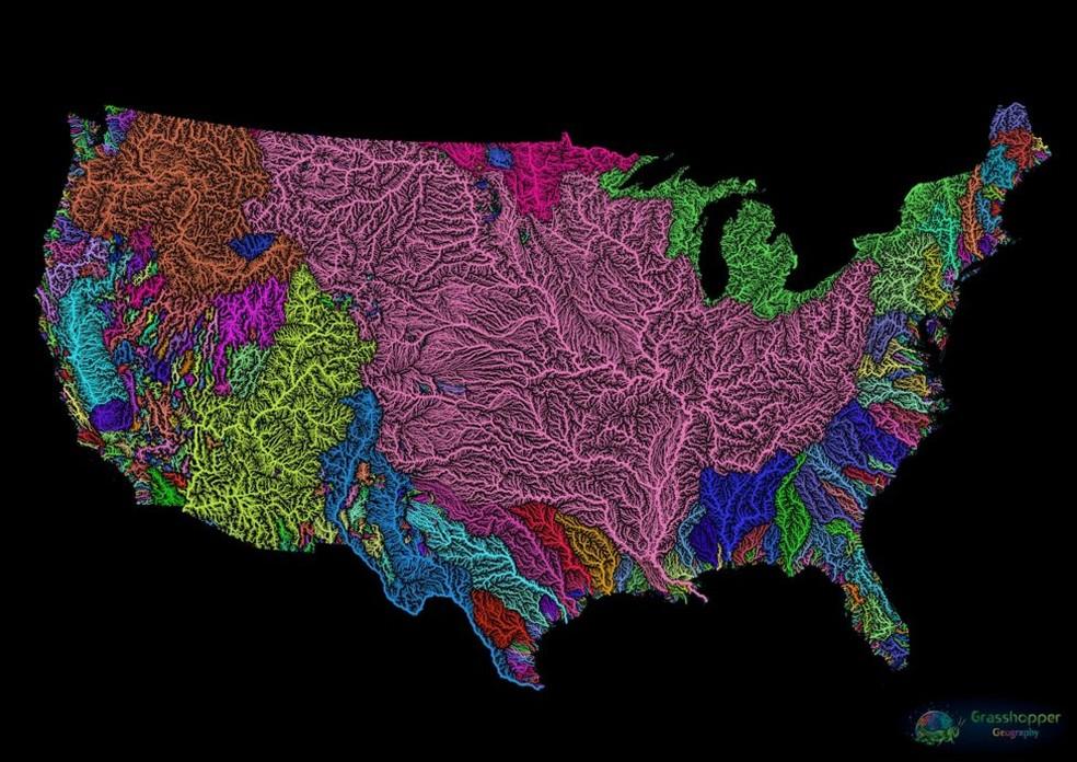Mapa dos EUA é um dos favoritos de artista-cartógrafo, por 'ter sido um dos primeiros' — Foto: Grasshoppergeography.com