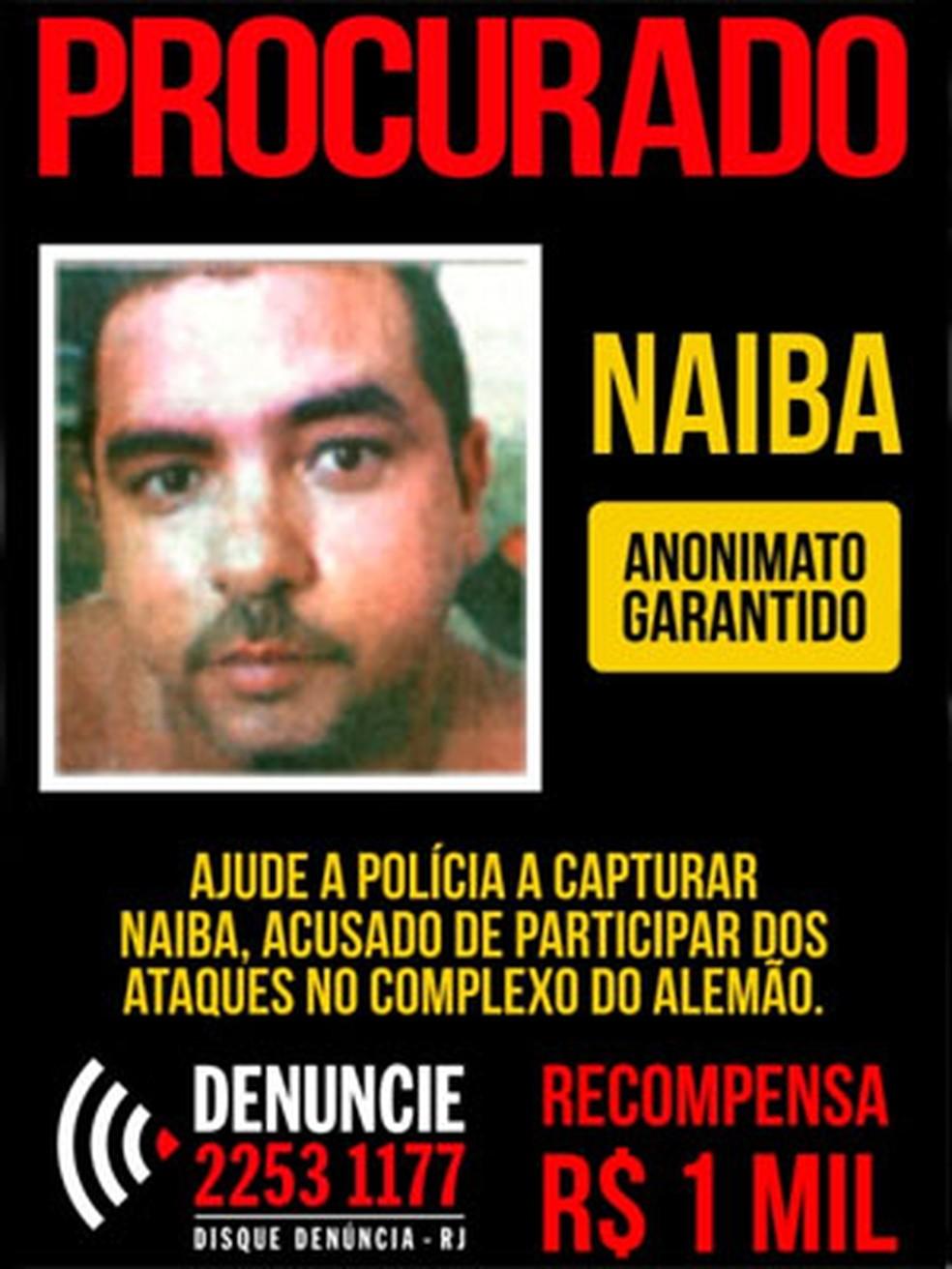 Disque Denúncia ofereci R$ 1 mil por informações que levassem a Naíba, suspeito de tráfico no Conjunto de Favelas Alemão (Foto: Divulgação/Disque Denúncia)
