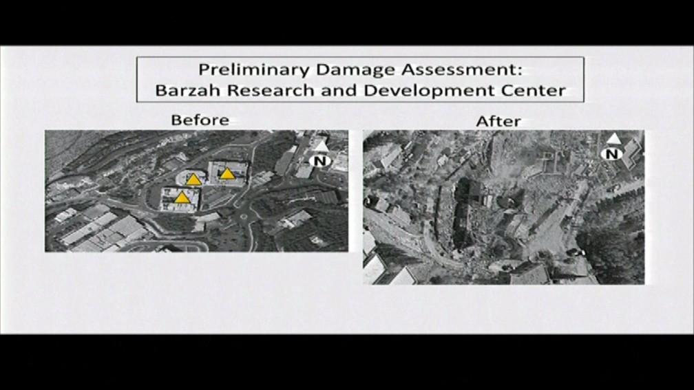 Imagens divulgadas pelo Pentágono mostram antes e depois de área atacada pelos EUA, Reino Unido e França. (Foto: Divulgação)