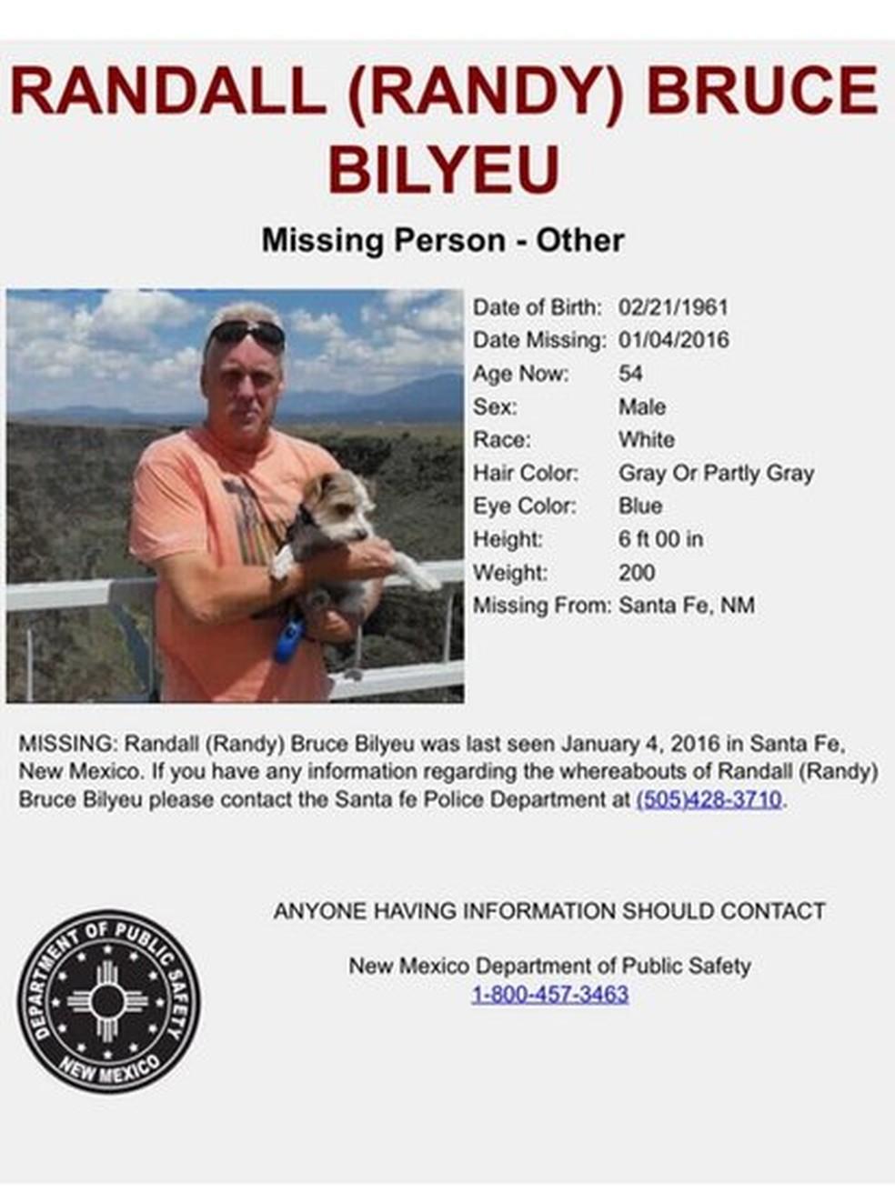 Randy Bilyeu desapareceu após sair em busca do tesouro de Fenn  (Foto: Departamento de Polícia de Santa Fé via BBC)