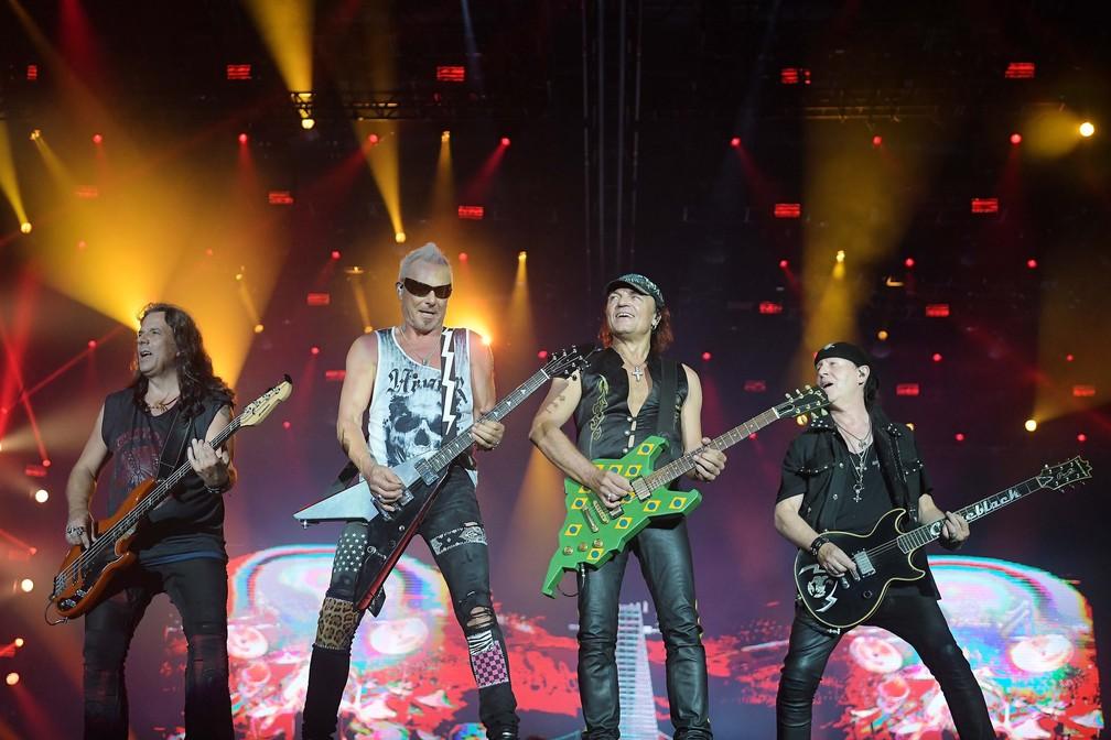Scorpions encerra palco Mundo nesta sexta (4), quinto dia do Rock in Rio 2019 — Foto: Alexandre Durão/G1