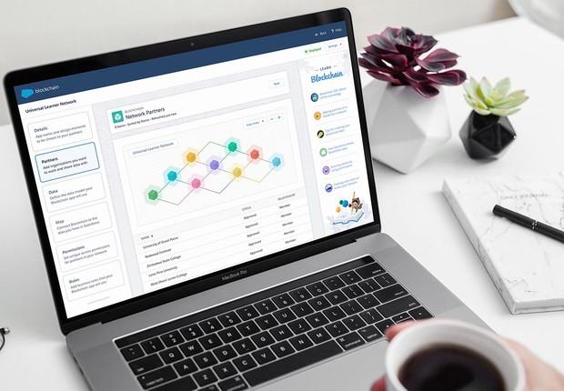 Tela do Salesforce Blockchain: interface dispensa a necessidade de desenvolvimento (Foto: Divulgação/Salesforce)