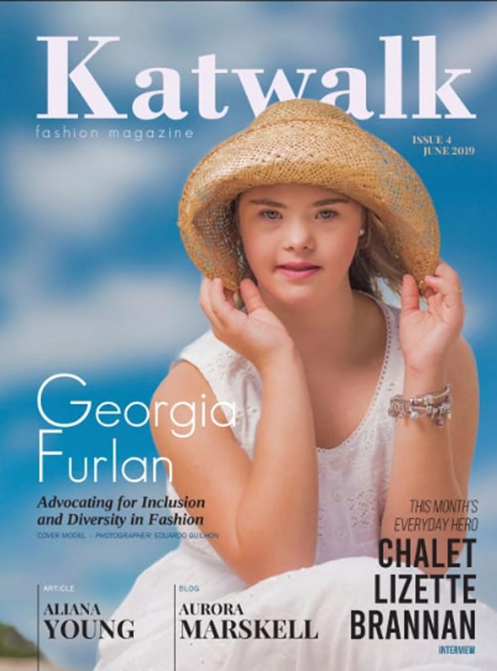 Georgia Furlan Traebert foi capa da edição de julho da australiana 'Katwalk Kids Fashion Magazine' — Foto: Katwalk Kids Fashion Magazine / Reprodução