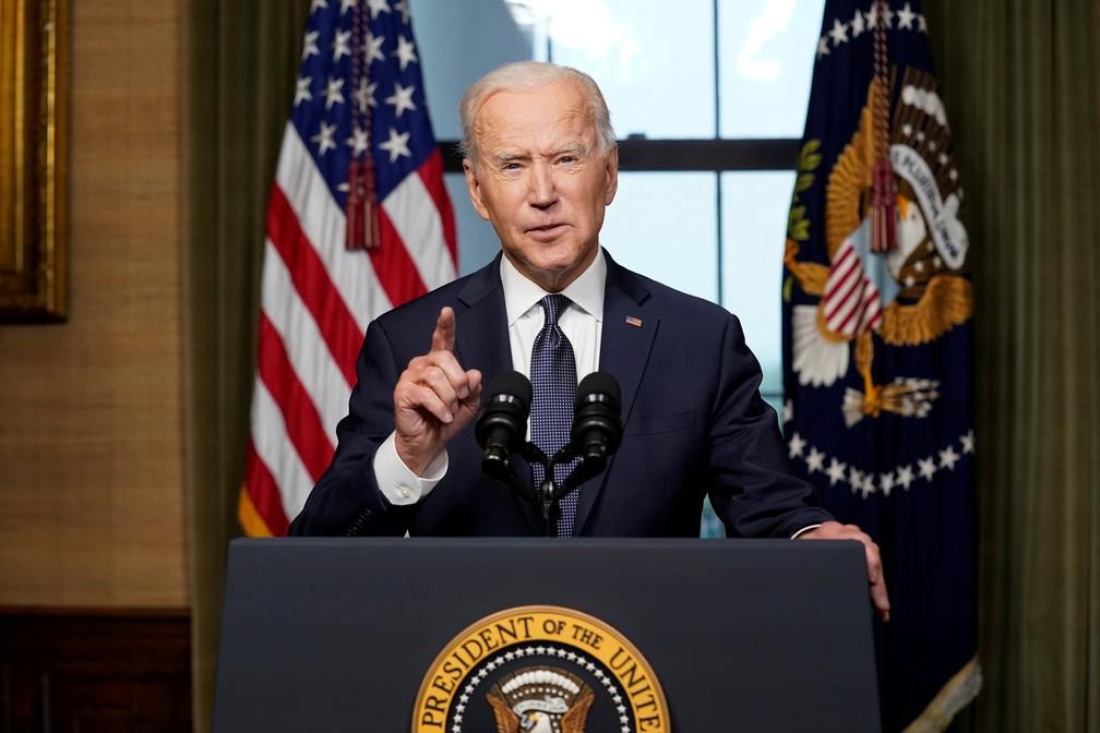 Presidente dos EUA, Joe Biden, faz pronunciamento nesta quarta (14) sobre retirada de militares americanos no Afeganistão — Foto: Andrew Harnik/Pool via Reuters