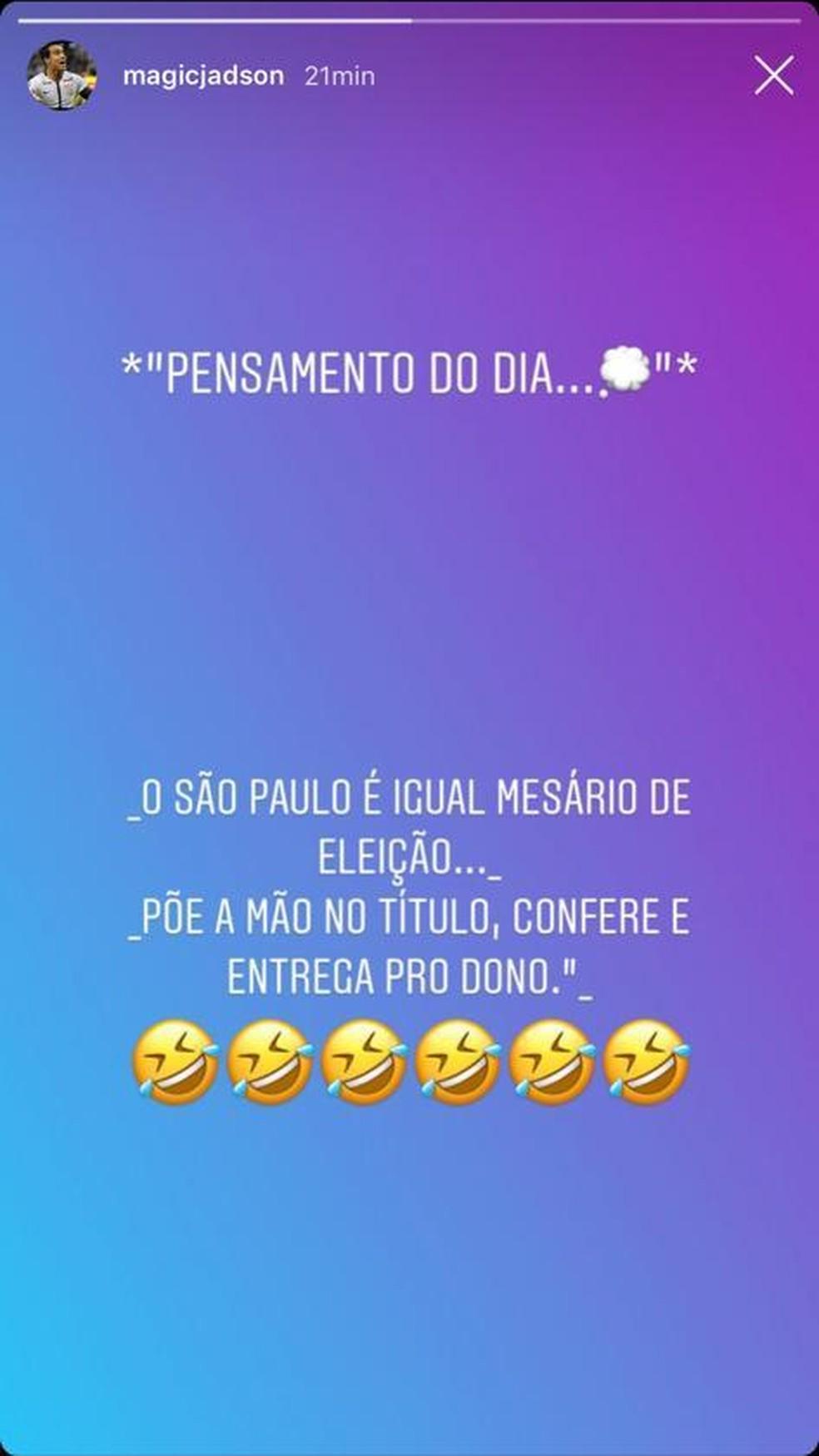 Jadson provoca São Paulo no instagram — Foto: Reprodução