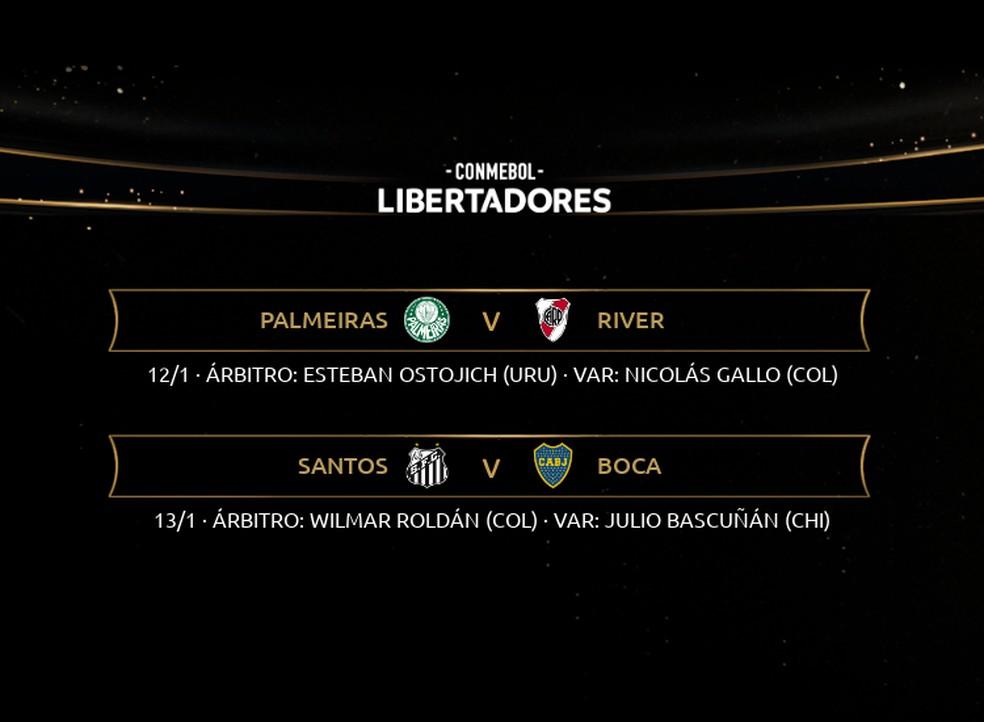 Arbitragem dos jogos semifinais da Libertadores na próxima semana — Foto: Conmebol/Divulgação