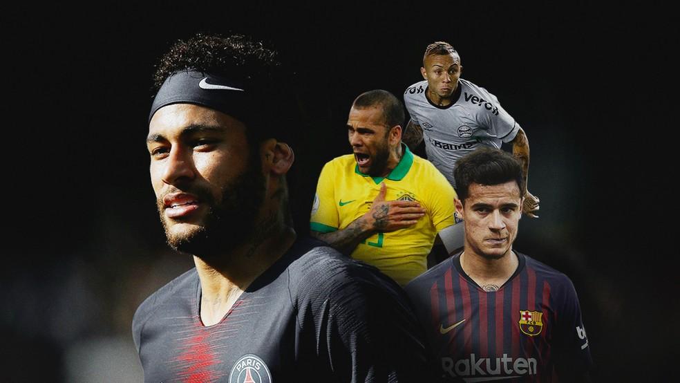 Jogadores da seleção no mercado — Foto: Arte: Infoesporte