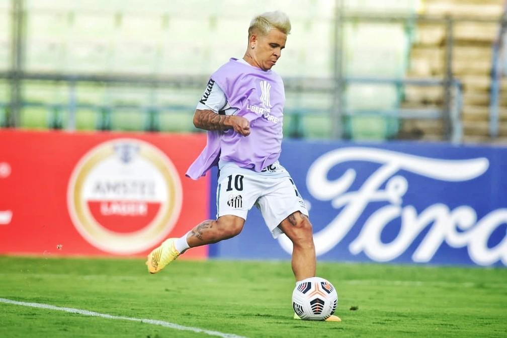 Soteldo enfrentou o Deportivo Lara e está na Venezuela desde então — Foto: Ivan Storti/Santos FC
