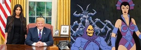 Um meme fazendo piada do encontro da socialite Kim Kardashian com o presidente norte-americano Donald Trump (Foto: Twitter)