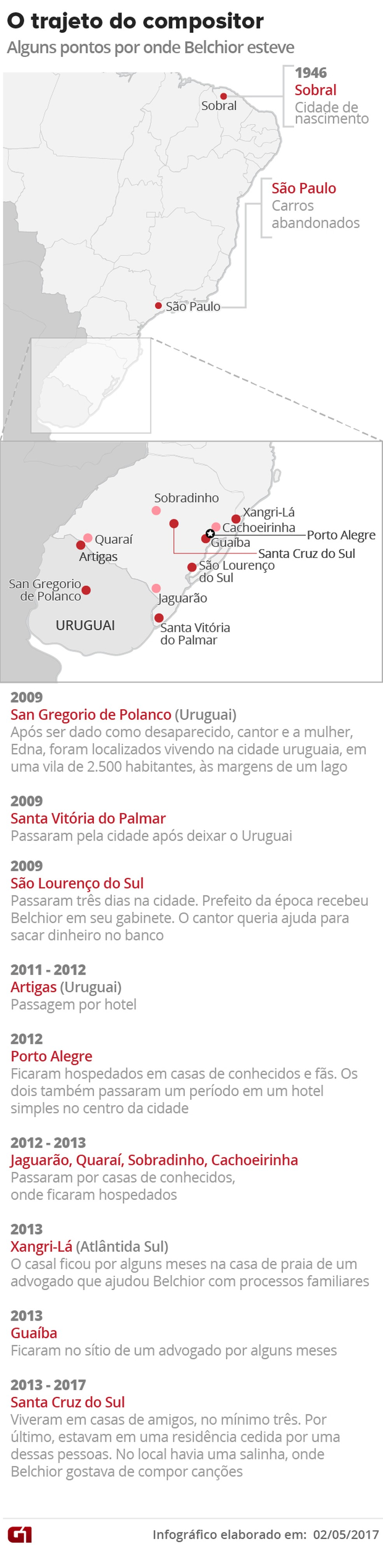 O trajeto de Belchior pelo Rio Grande do Sul e Uruguai (Foto: Arte/G1)