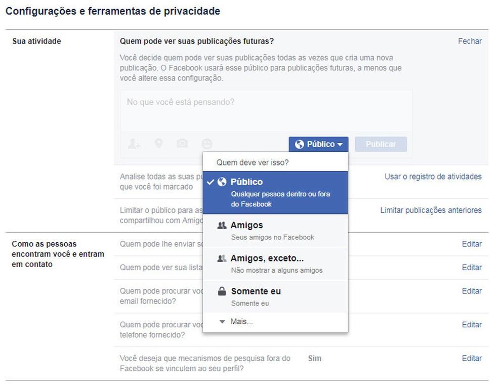 Tela de configuração da privacidade de postagens no Facebook. (Foto: Reprodução/Facebook)