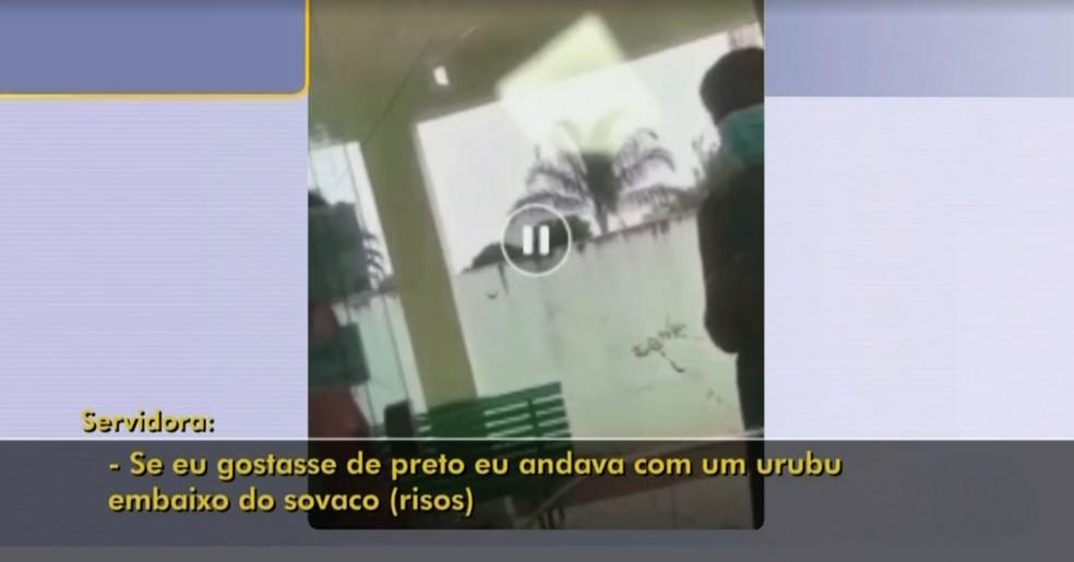 Vídeo mostra crime de racismo suspeito de ter sido cometido por servidora em Paranapuã (SP) — Foto: Reprodução/Tv Tem