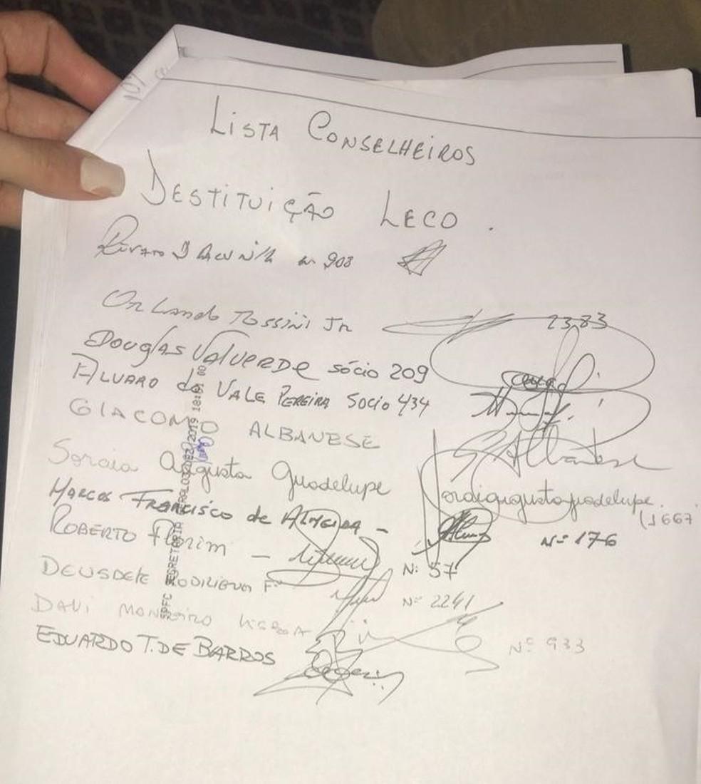 Assinaturas de conselheiros no pedido de impeachment do presidente Leco, do São Paulo — Foto: GloboEsporte.com