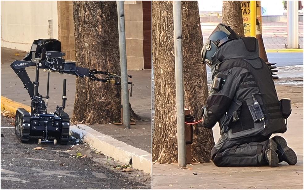 Gate usa robô para manejar explosivos apreendidos em Araçatuba — Foto: Reprodução