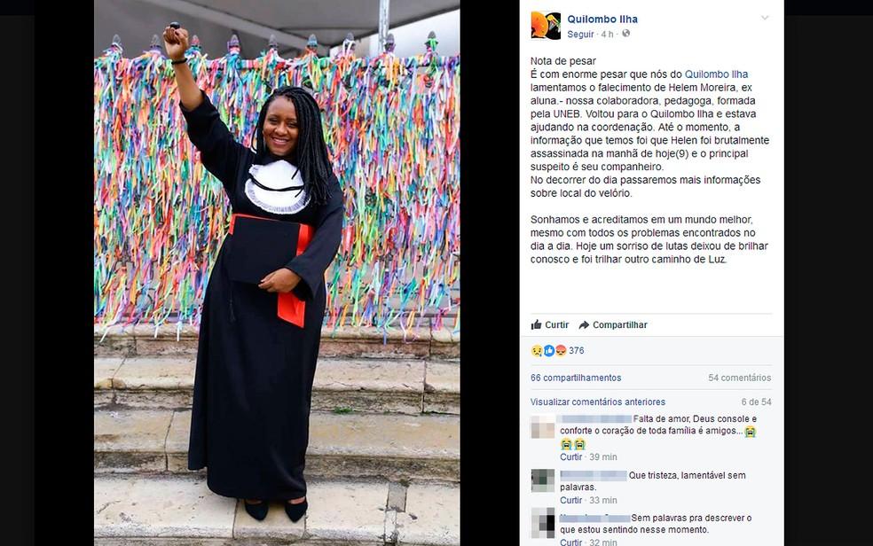 Helem Moreira foi morta pelo marido em Vera Cruz, na Bahia — Foto: Reprodução/ Facebook