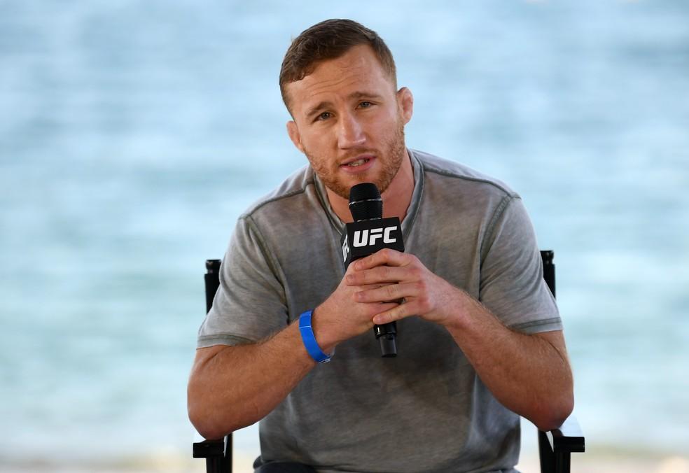 Justin Gaethje não escondeu satisfação com nocaute sofrido por Conor McGregor — Foto: Getty Images