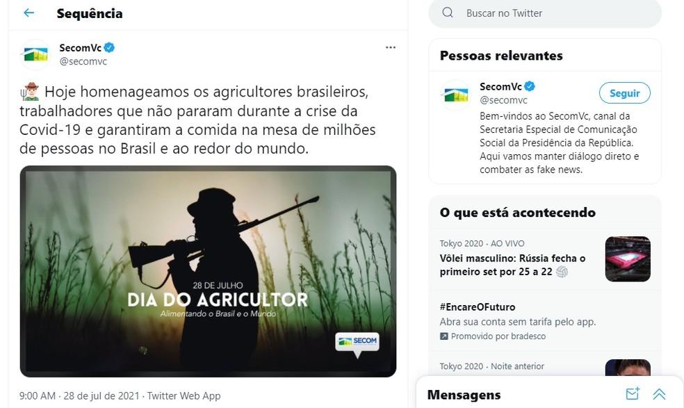 Governo Bolsonaro publica foto de homem armado para parabenizar o dia do agricultor — Foto: Reprodução/Twitter