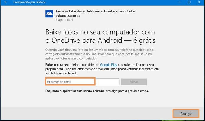 Na tela de sincronização do OneDrive selecione avançar (Foto: Reprodução/Barbara Mannara)