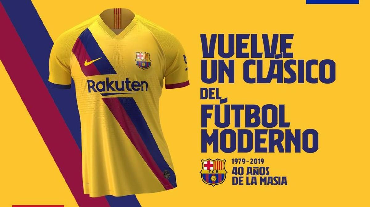 b73bb016a6a7d Barcelona divulga nova camisa inspirada em modelo de 1979 e que homenageia  La Masía | Brasil Mundial FC | Globoesporte