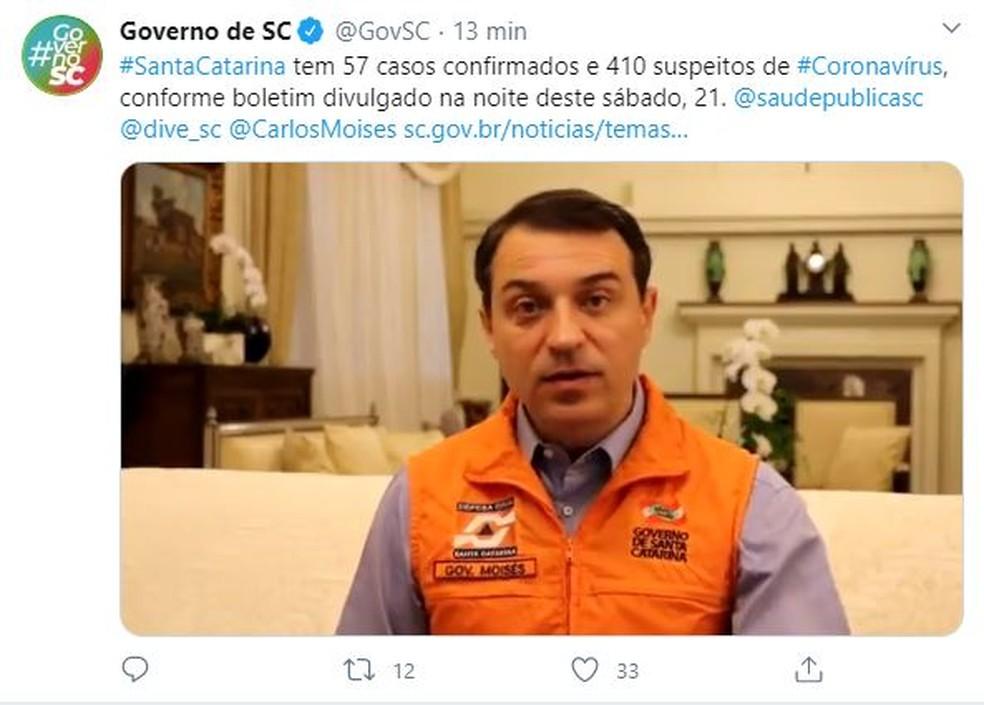 Governador atualiza o número de casos confirmados de coronavírus em Santa Catarina em publicação feita por volta das 22h — Foto: Reprodução/ Redes sociais