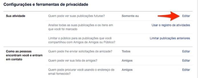 Ação para iniciar a edição de privacidade para posts do Facebook (Foto: Reprodução/Marvin Costa)