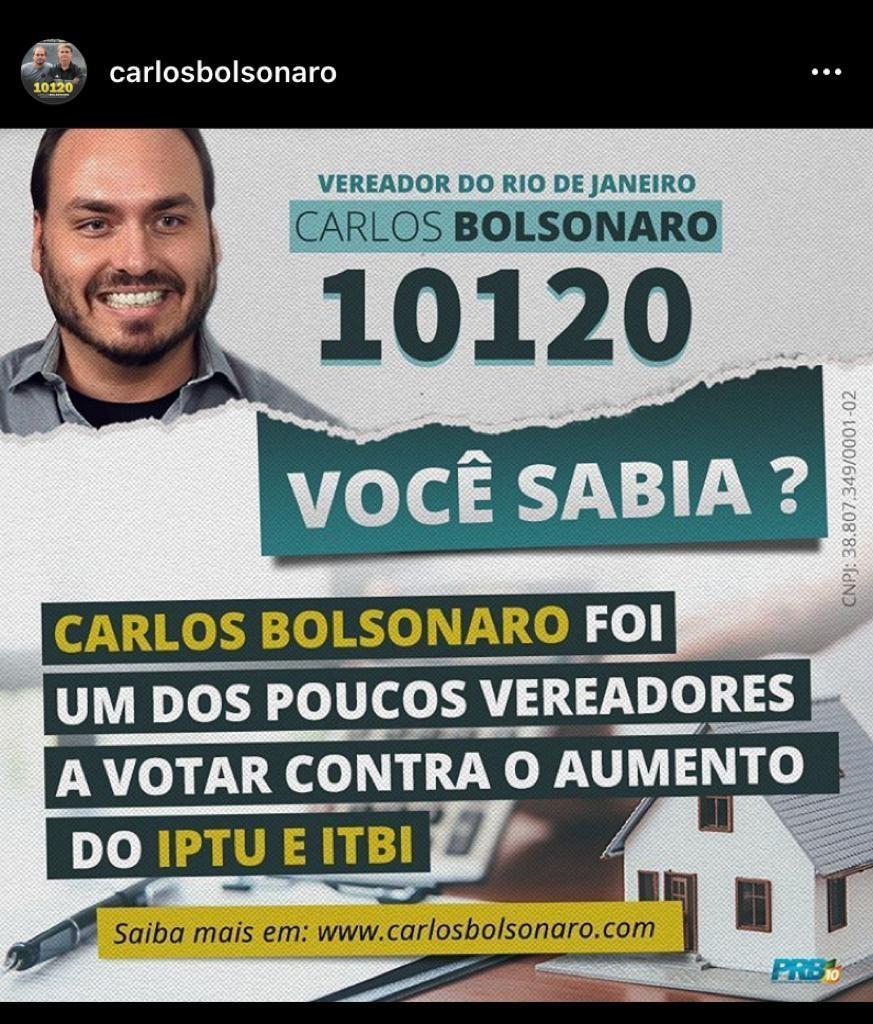 Carlos Bolsonaro lembra voto contra projeto de Crivella em material de campanha
