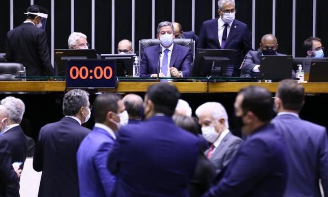 O presidente da Câmara, Arthur Lira, durante a votação do voto impresso no plenário